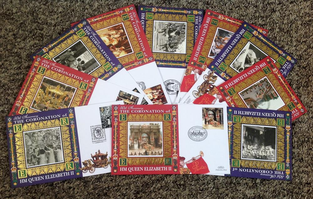 FDC collection of 10 Benham Covers 50th Anniversary The Coronation of HM Queen Elizabeth II set of
