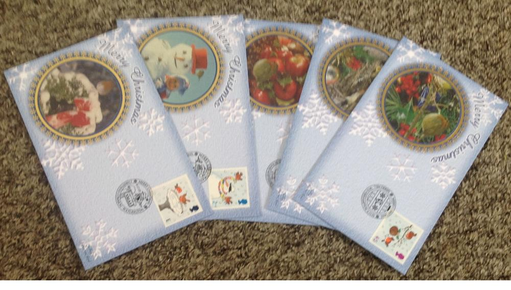 FDC collection of 5 Benham covers Christmas set of five BS105-109 PM 06. 11. 01. We combine
