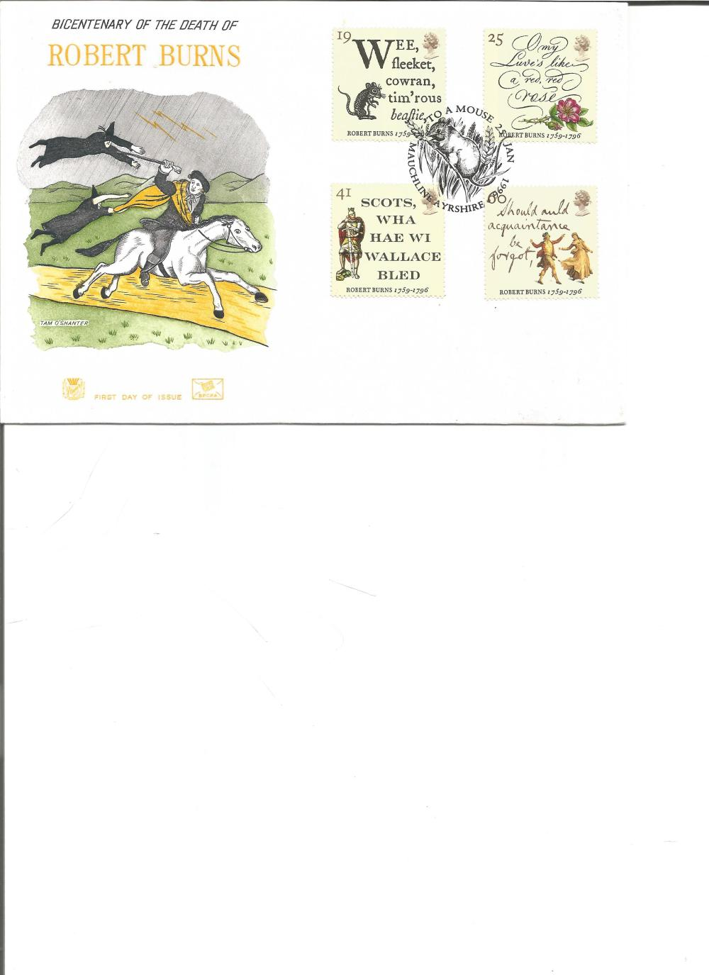 FDC Bicentenary of the Death of Robert Burns set four stamps PM Mauchline Ayrshire 25th Jan 1996. We