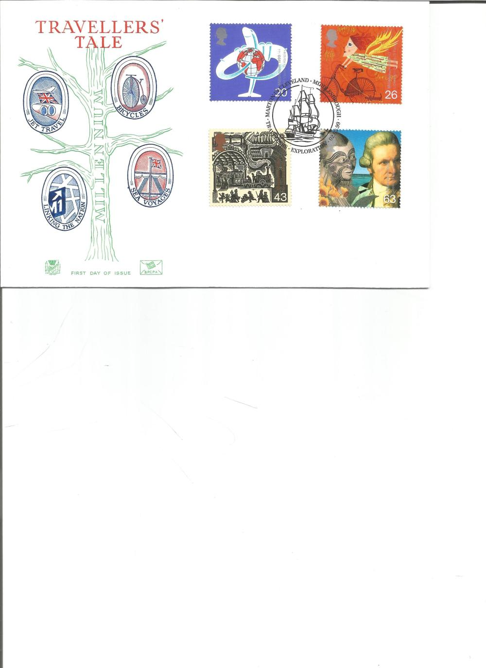 FDC Travellers Tale c/w set of four stamps PM Marton in Cleveland , Middlesbrough , Travellers