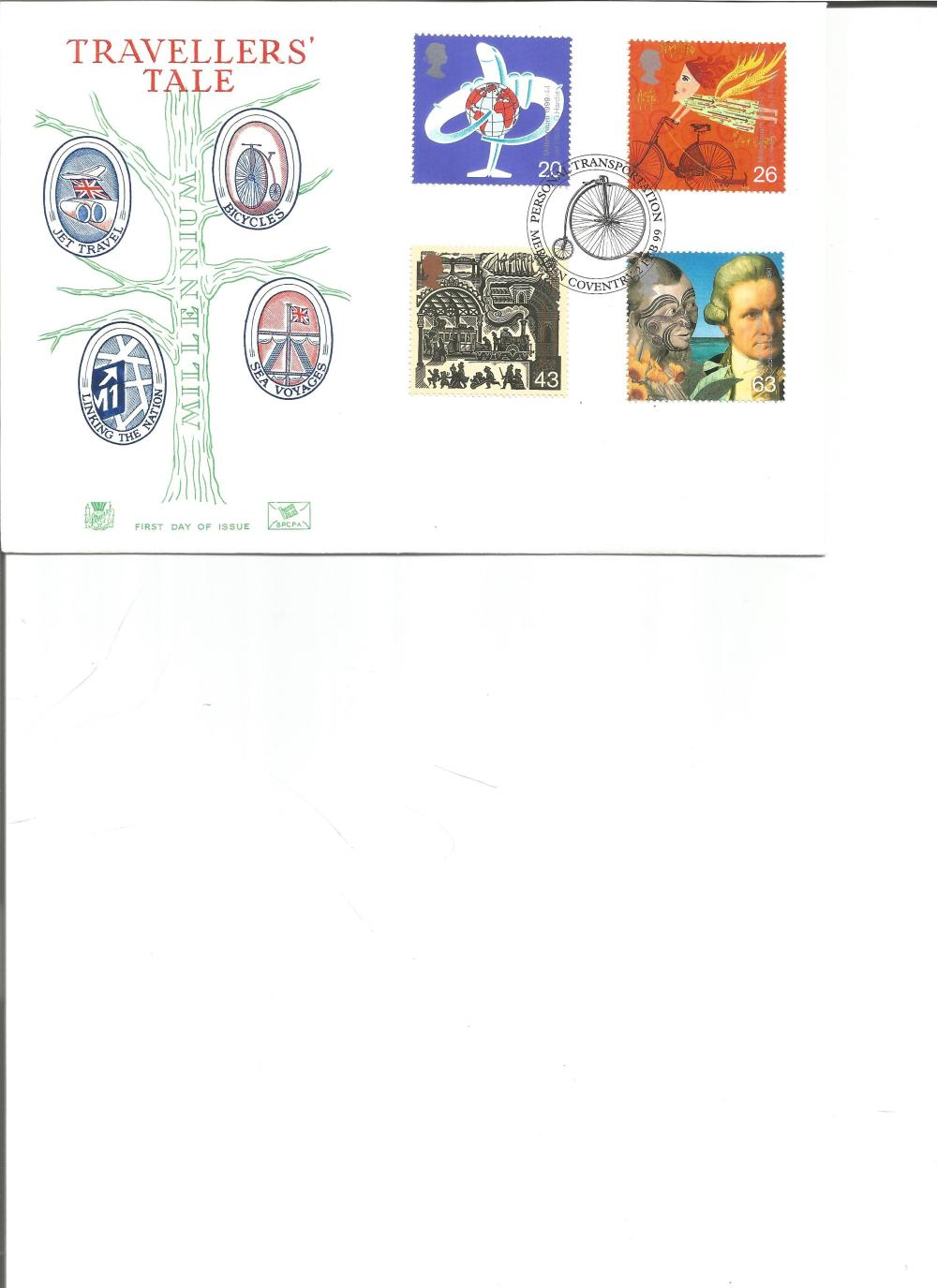 FDC Travellers Tale c/w set of four stamps PM Personal Transportation 2nd Feb 1999 Coventry. We