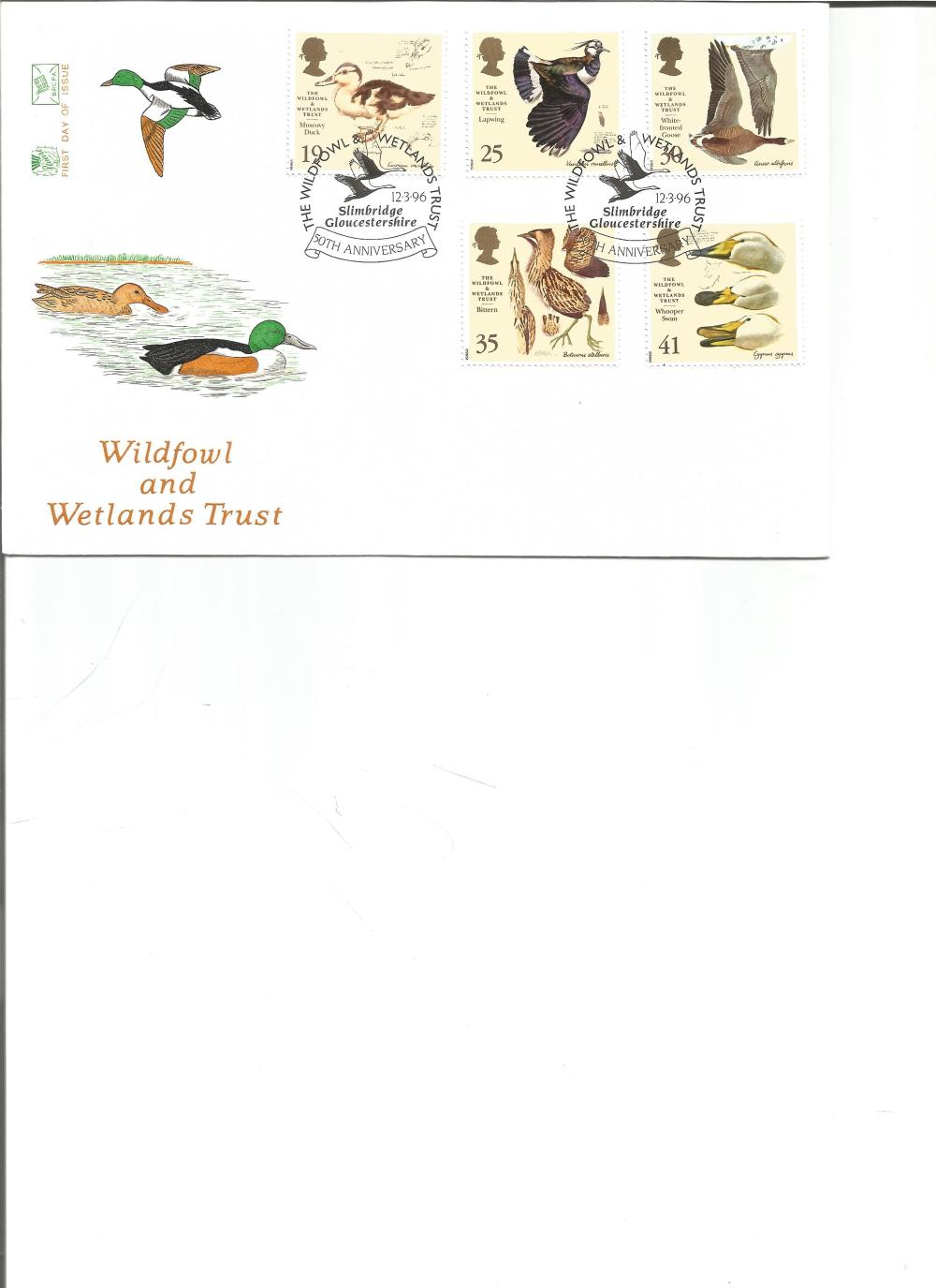 FDC Wildfowl and Wetlands Trust c/w set of five stamps double PM 50th Anniversary The Wildfowl &