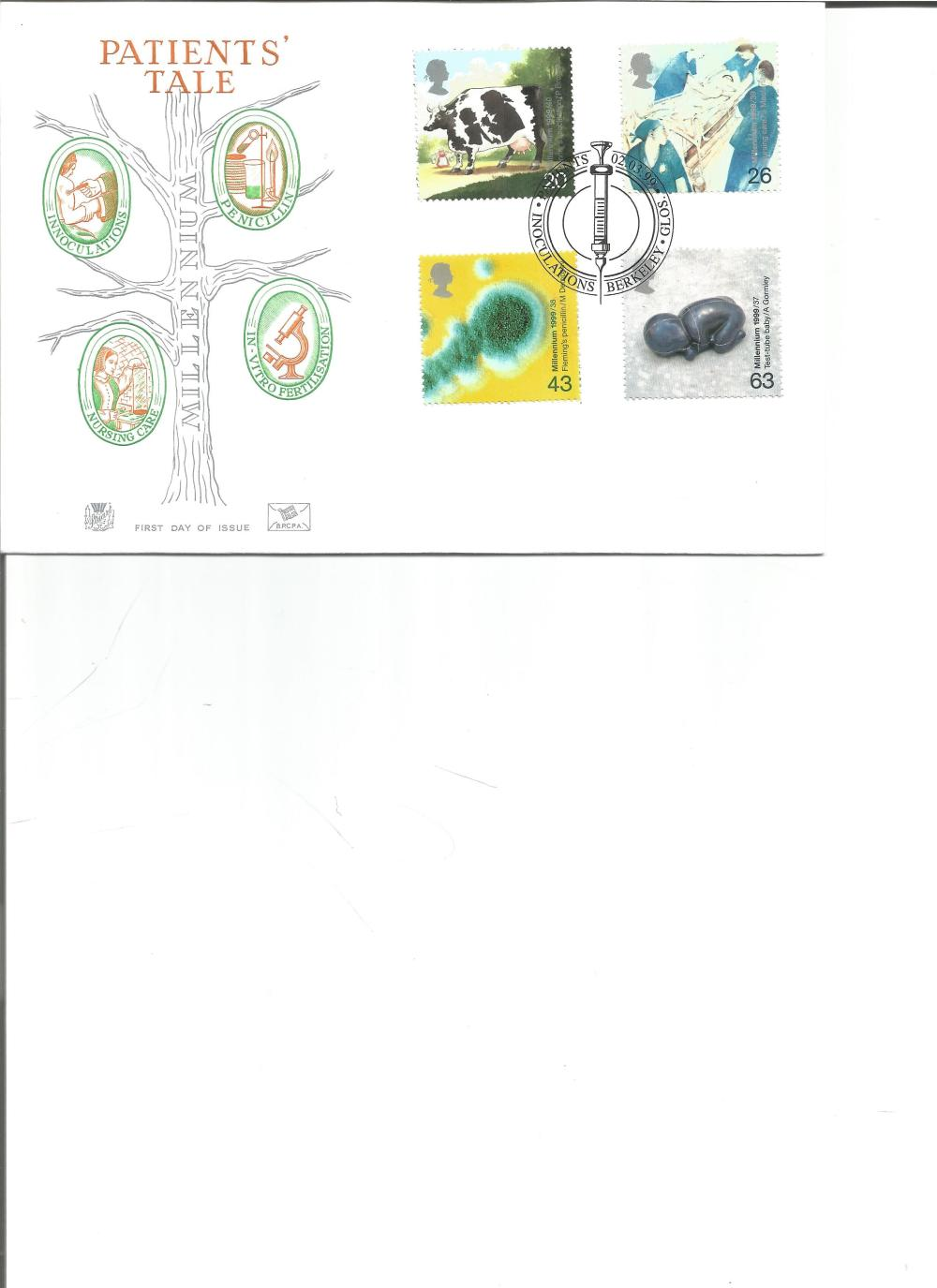 FDC Patients Tale c/w set of four stamps PM Patients Inoculations Berkeley, Glos 02. 03. 99. We