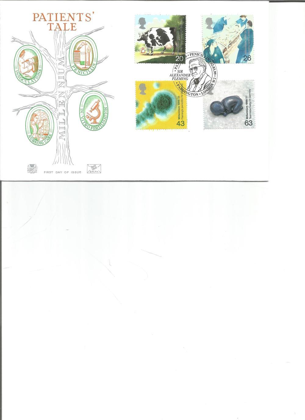 FDC Patients Tale c/w set of four stamps PM Sir Alexander Fleming Patients Penicillin 02. 03. 99