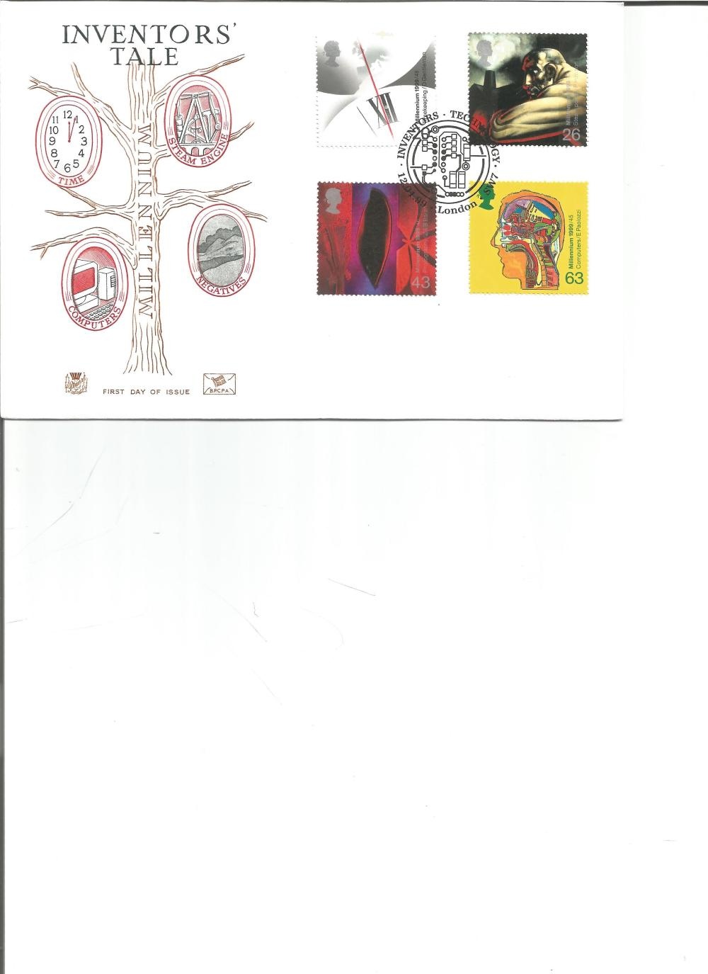 FDC Inventors Tale c/w set of four stamps PM Inventors Technology 12. 04. 89 London SW7. We