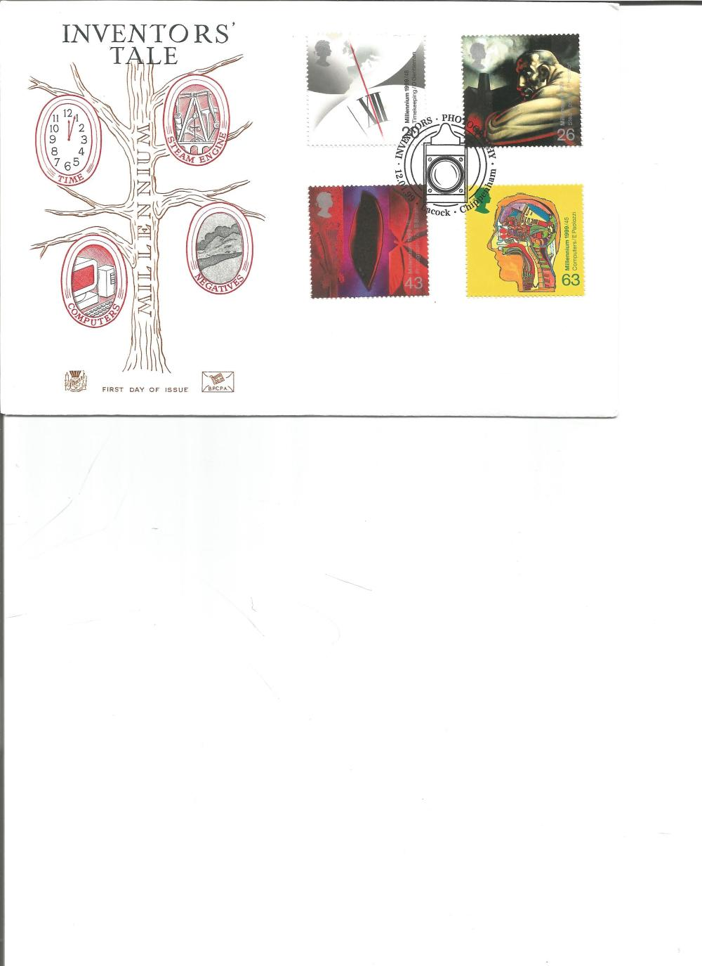 FDC Inventors Tale c/w se of four stamps PM Inventors Photography 12. 04. 99 Chippenham. We