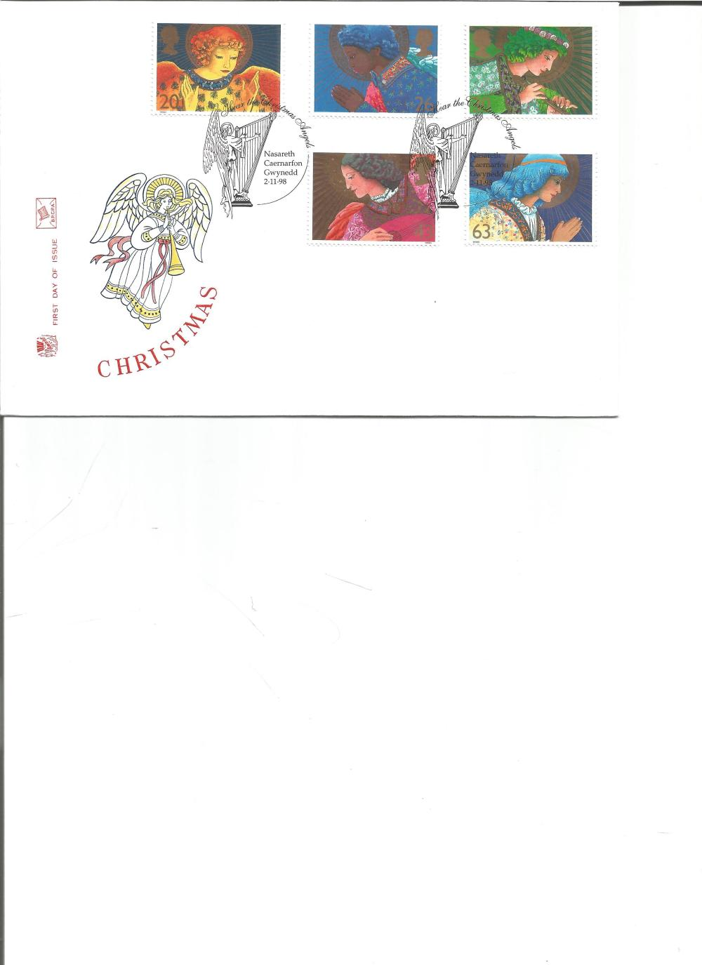 FDC Christmas c/w set of five stamps , double PM Hear the Christmas Angels, Nasareth, Caernarfon,