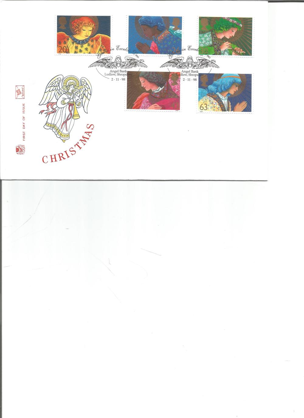 FDC Christmas c/w set of five stamps , double PM Gloria in Excelsis Dea , Angel Bank, Ludlow ,