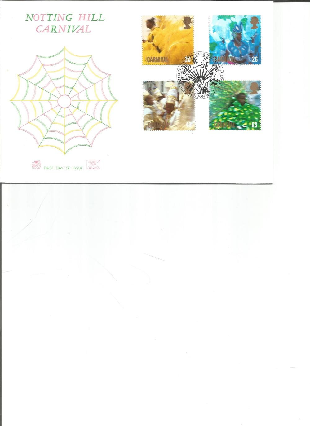 FDC Notting Hill Carnival c/w set of four stamps PM Celebrations, Notting Hill, London W11, 25TH