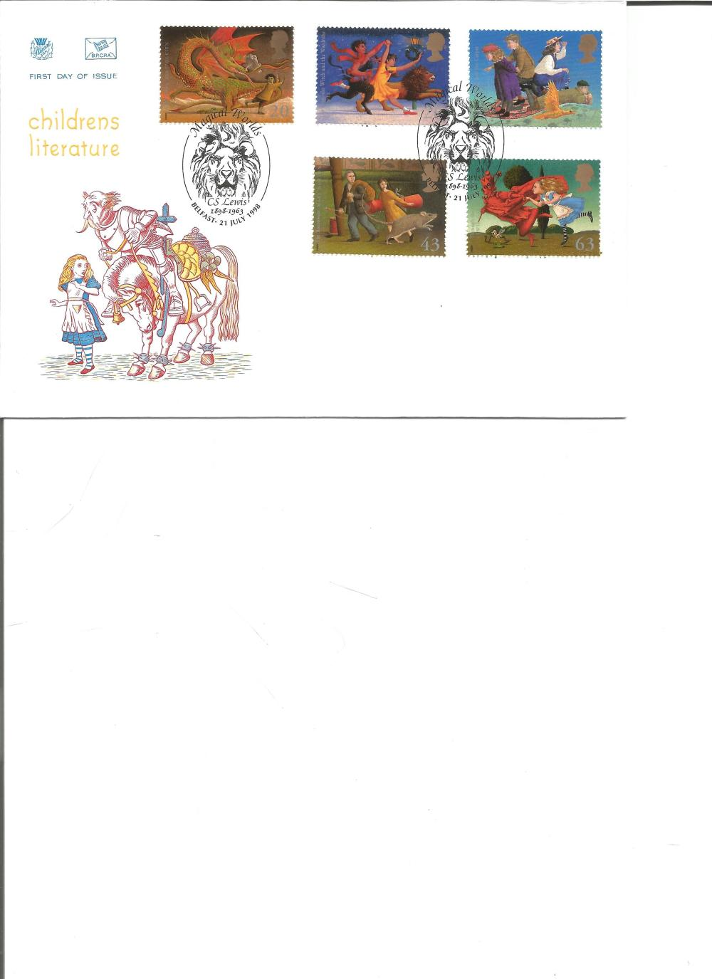 FDC Childrens Literature c/w set of five commemorative stamps double PM Magical Worlds, CS Lewis