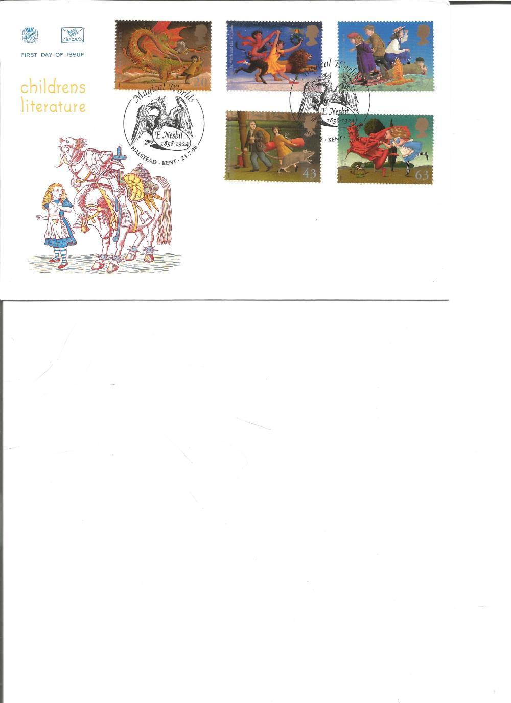 FDC Childrens Literature c/w set of five commemorative stamps double PM Magical Worlds, E Nesbit
