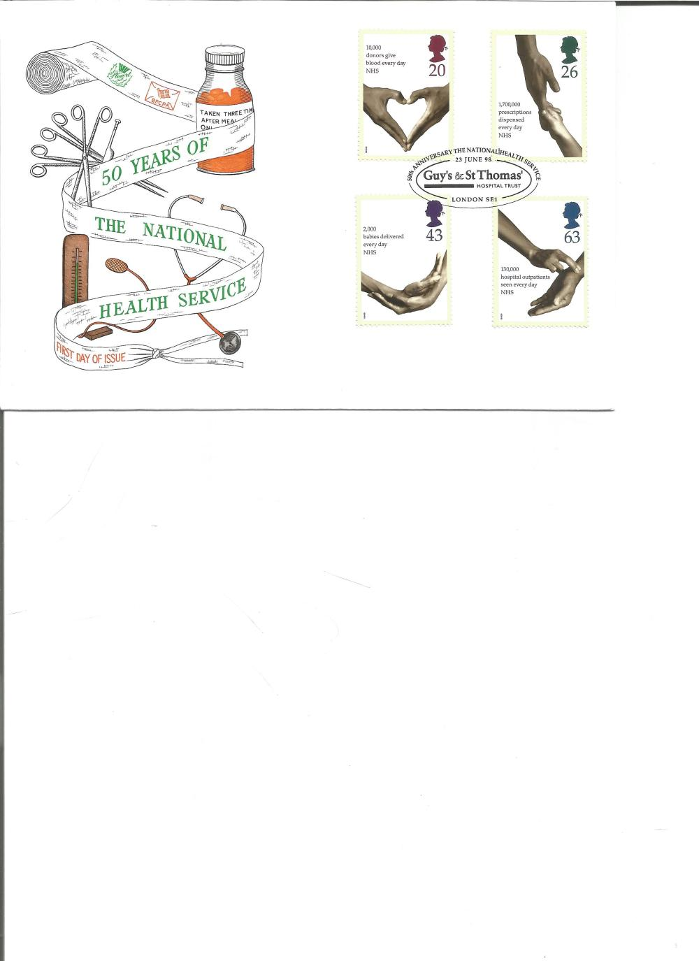 FDC 50 Years of the National Health Service c/w set of four commemorative stamps PM Guys & St Thomas