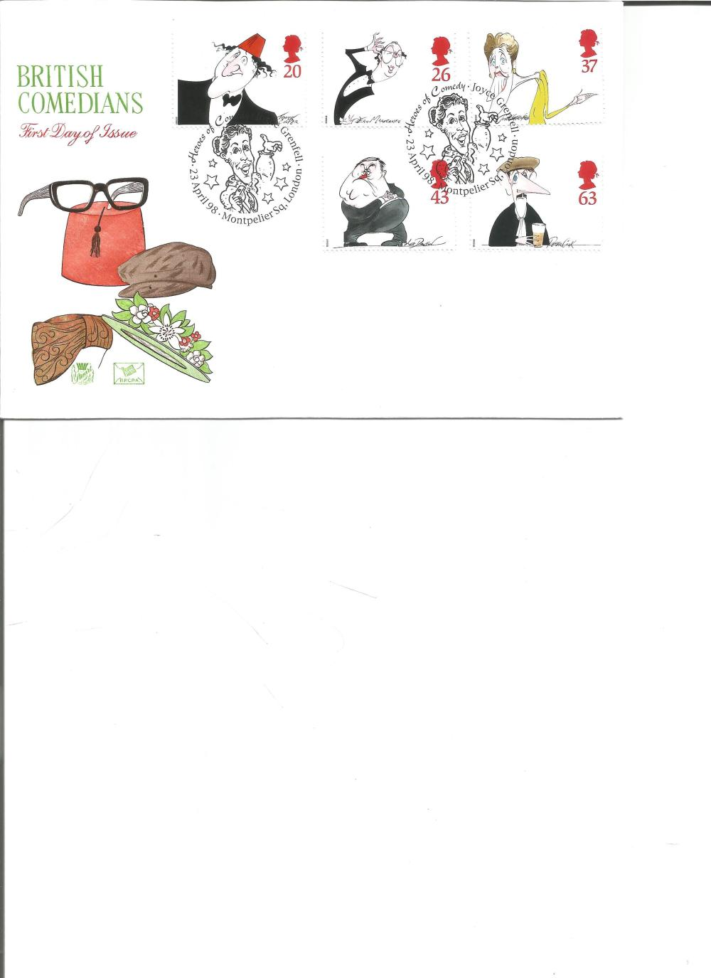 FDC British Comedians c/w set of five commemorative stamps, Double PM Heroes of Comedy Joyce