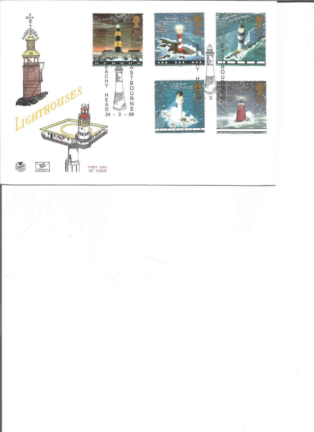 FDC Lighthouses c/w set of five commemorative stamps, Double PM Beachy Head, Eastbourne 24. 3. 98.