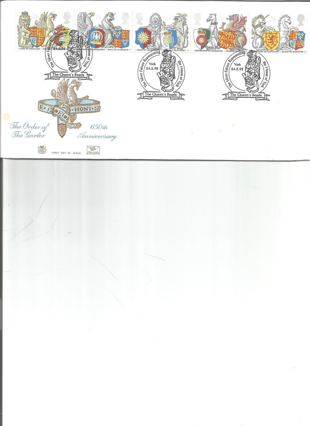 FDC The Order of the Garter 650th Anniversary c/w set of five commemorative stamps triple PM The