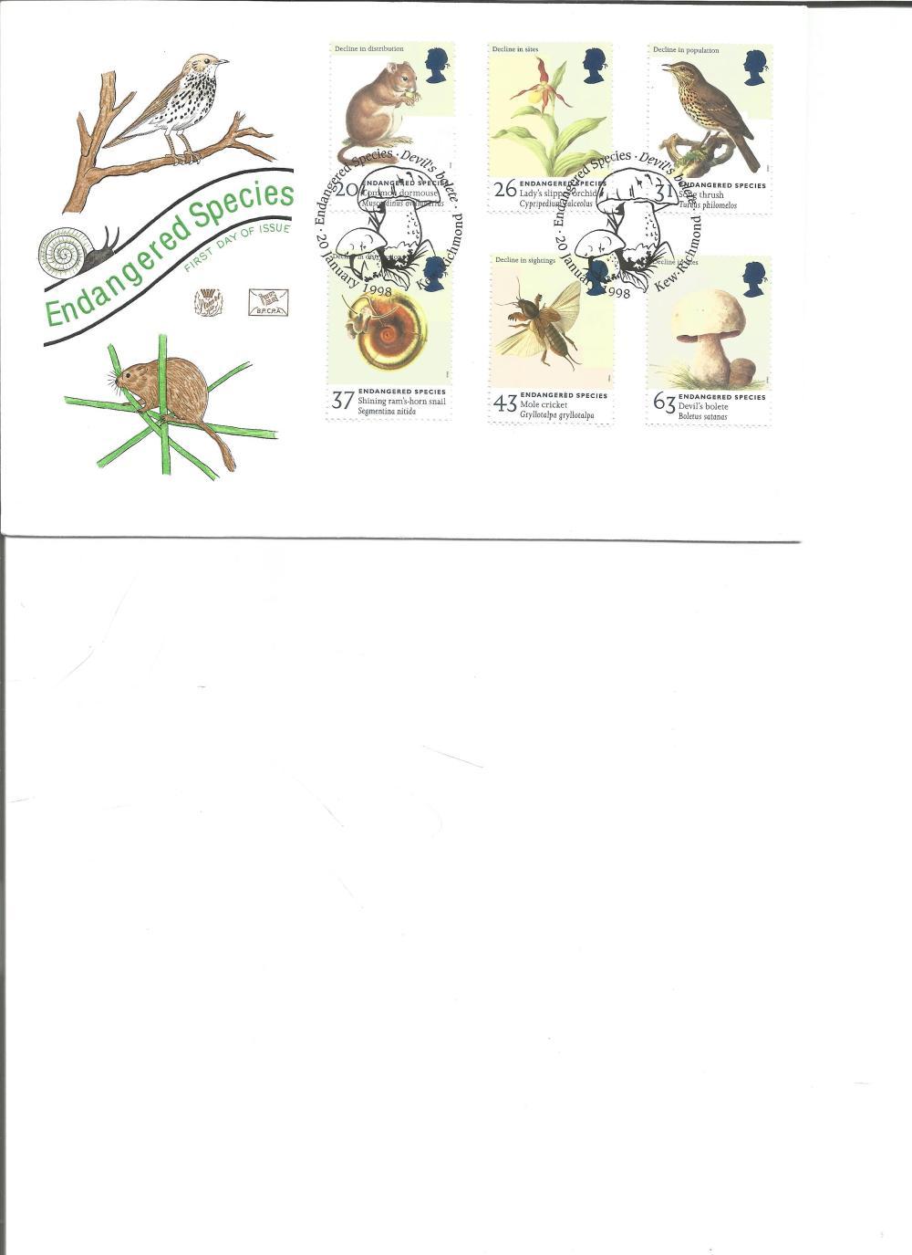 FDC Endangered Species c/w set of five commemorative stamps PM Endangered Species, Devils Balete,