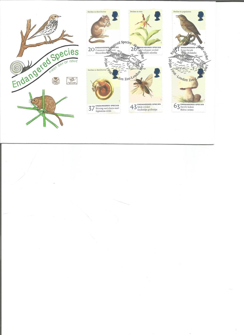FDC Endangered Species c/w set of five commemorative stamps PM Endangered Species, Mole Cricket ,