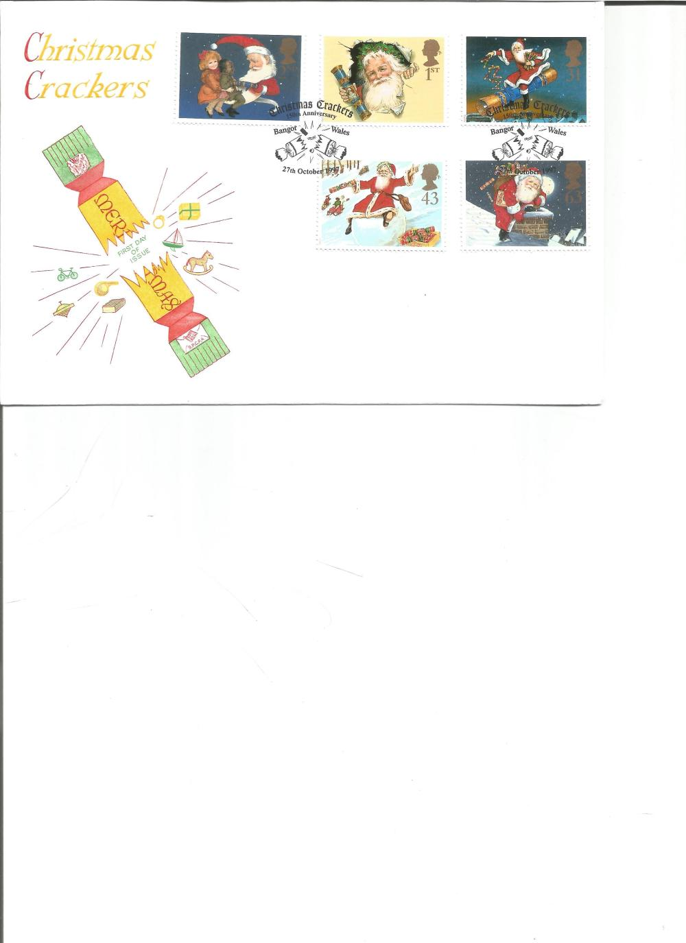 FDC Christmas Crackers c/w set of five commemorative stamps PM Christmas Crackers 150th Anniversary,