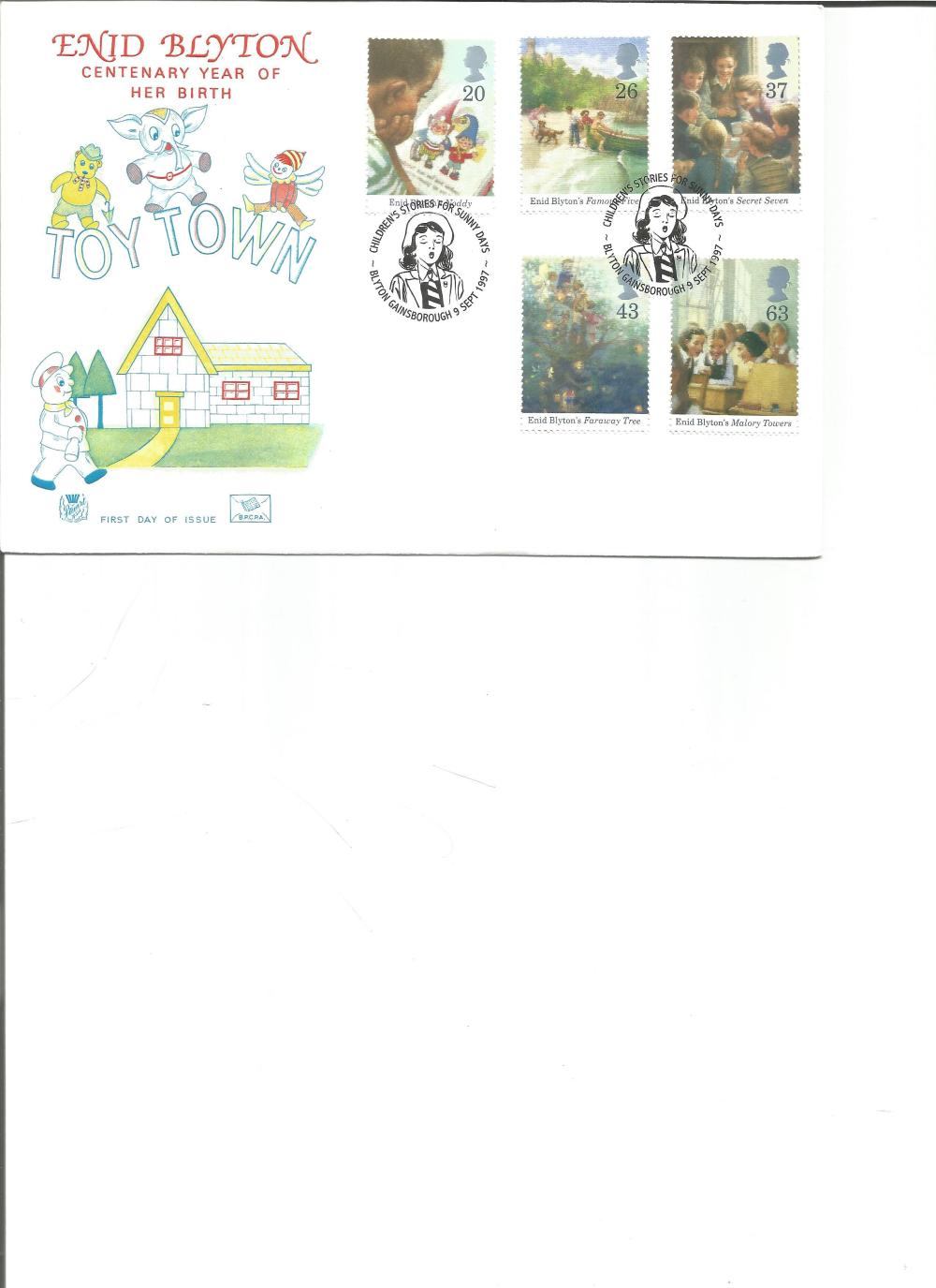 FDC Enid Blyton centenary year of her birth TOY TOWN c/w set of five commemorative stamps double