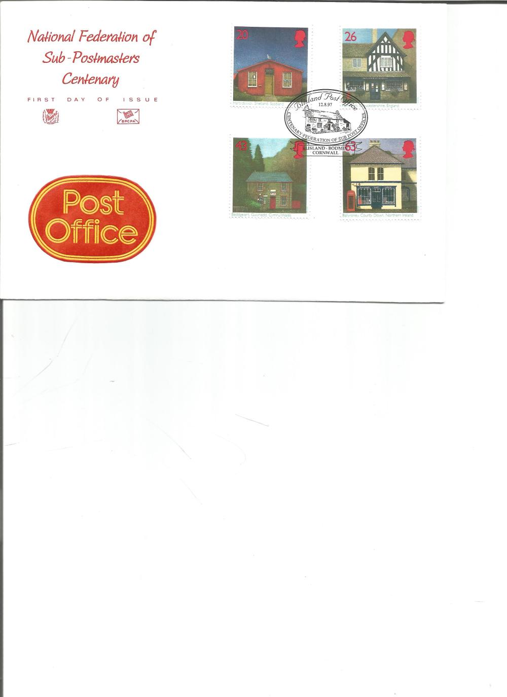 FDC National Federation of Sub Postmasters Centenary c/w set of four commemorative stamps PM