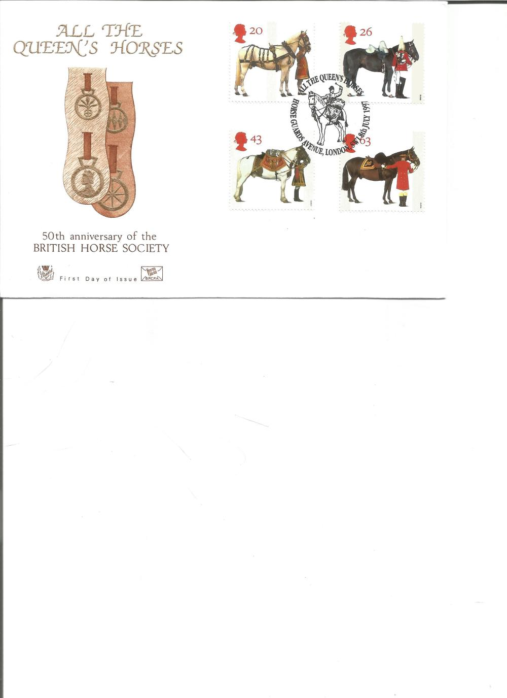 FDC All the Queen Horses 50th Anniversary of the British Horse Society c/w set of four commemorative