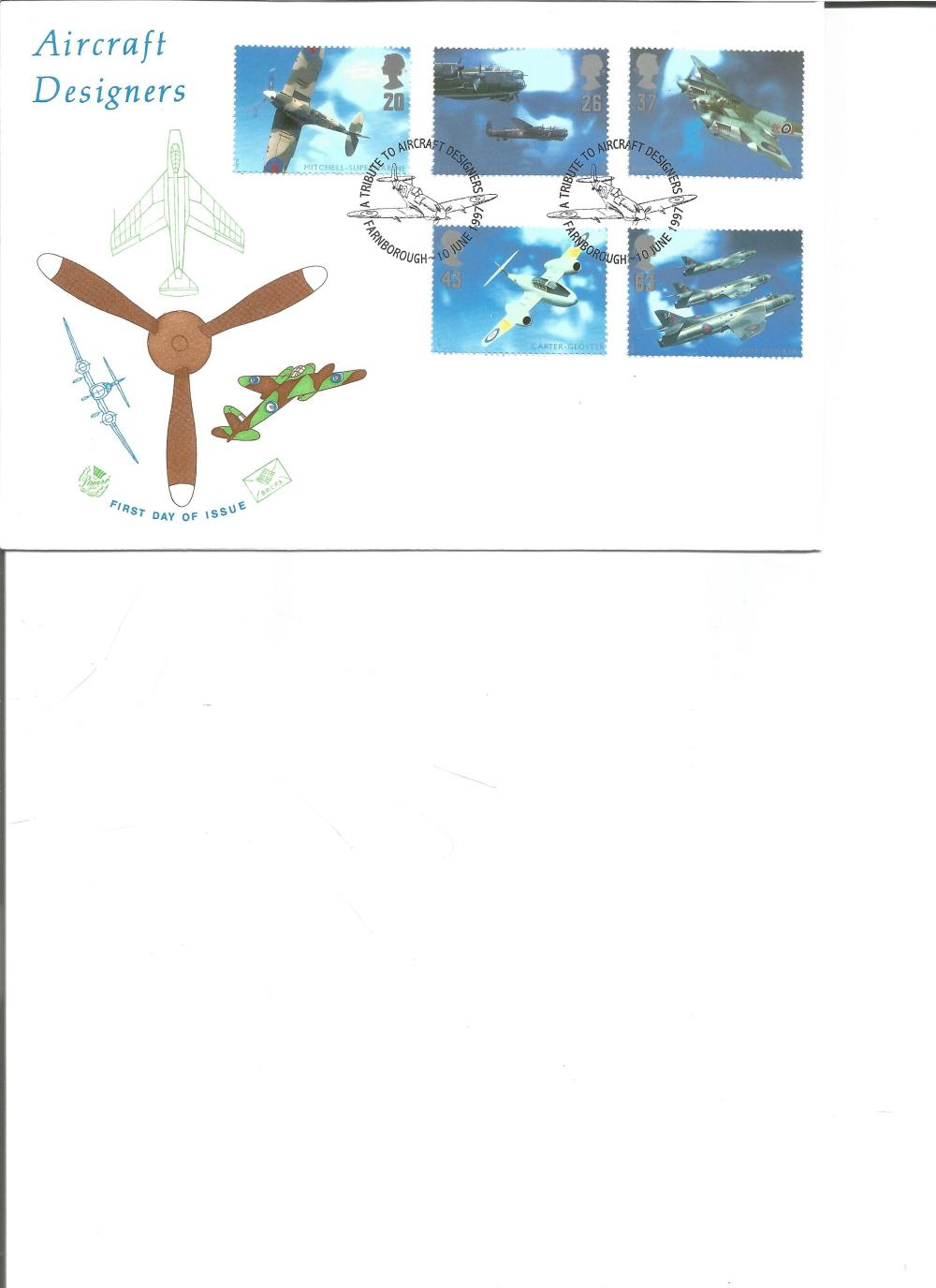 FDC Aircraft Designers c/w set of five commemorative stamps double PM A Tribute to Aircraft