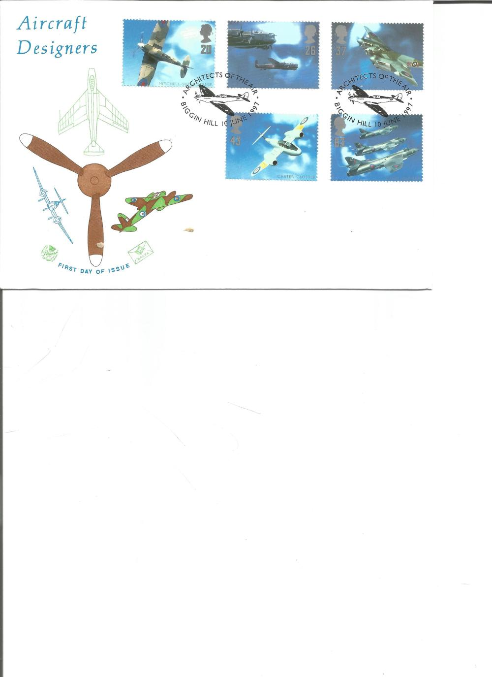 FDC Aircraft Designers c/w set of five commemorative stamps double PM Architects of the Air,
