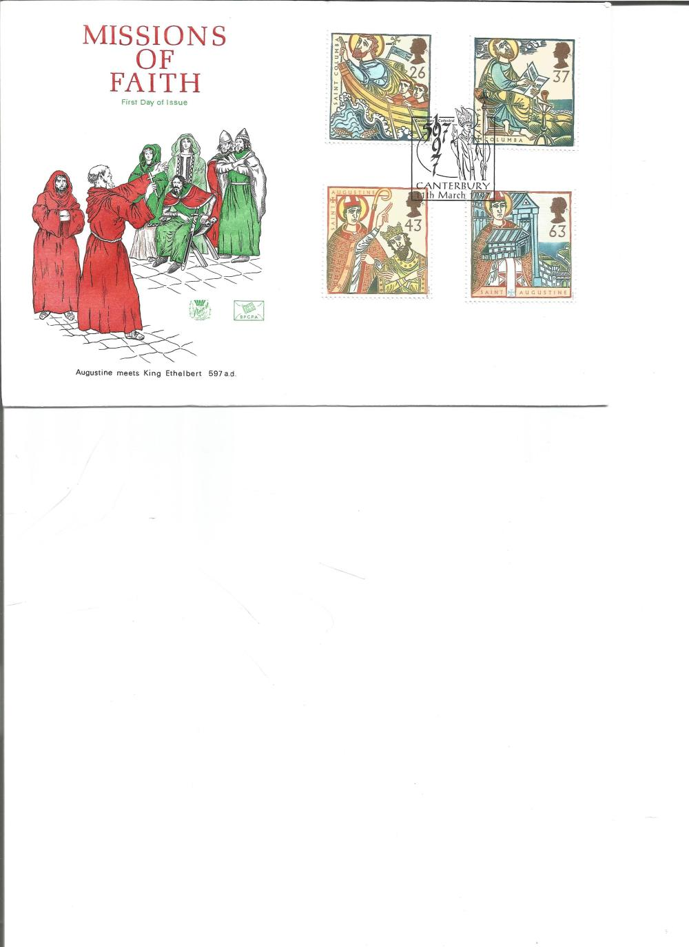 FDC Missions of Faith Augustine Meets King Ethelbert 597 a. d c/w set of four commemorative stamps