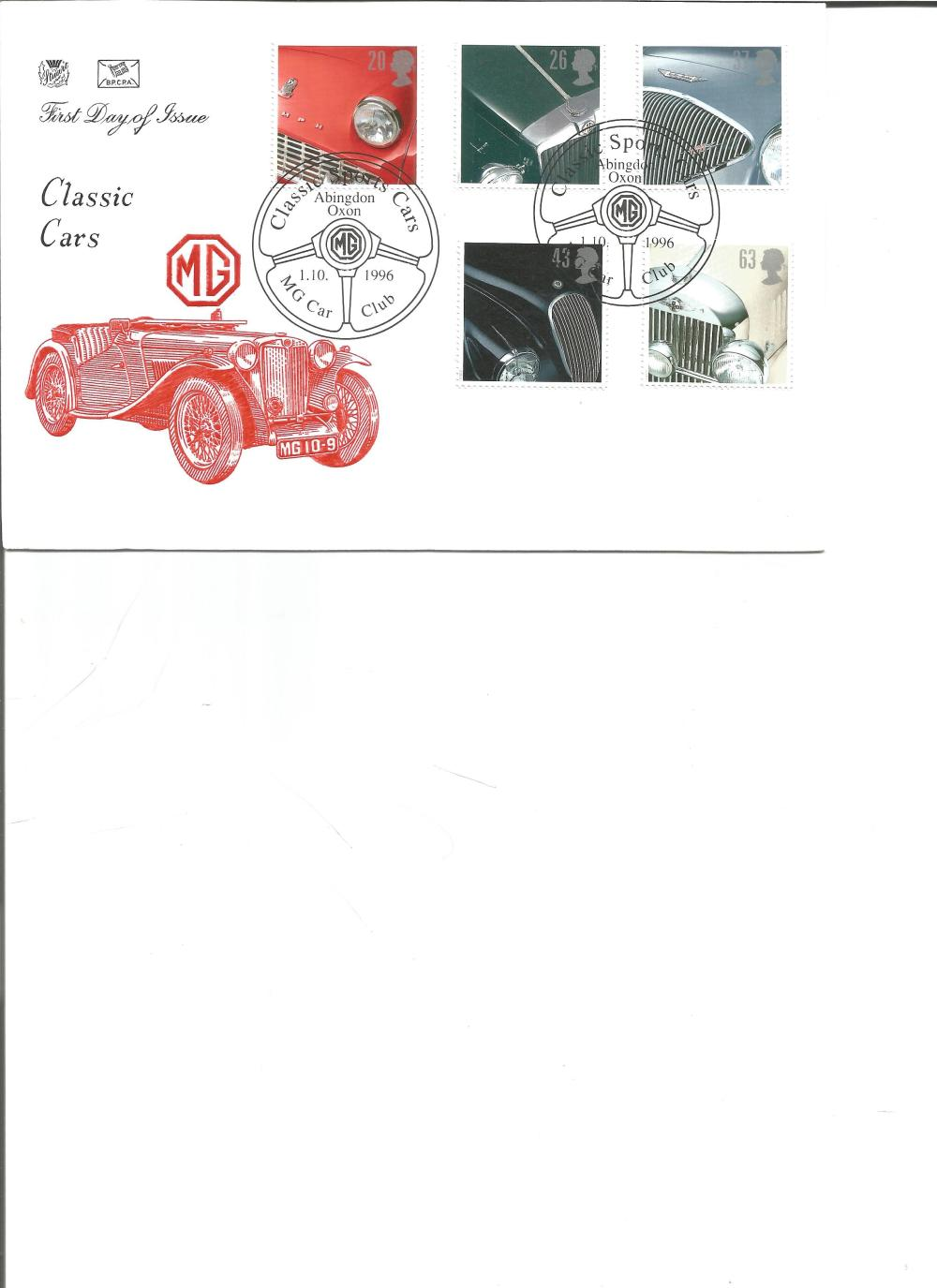 FDC Classic Cars MG c/w set of five commemorative stamps double PM Classic Sports Cars, 1. 10.