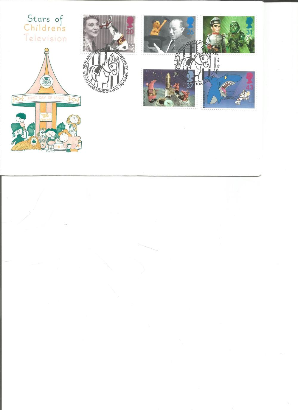 FDC Stars of Childrens Television c/w set of five commemorative stamps double PM 50th Anniversary of