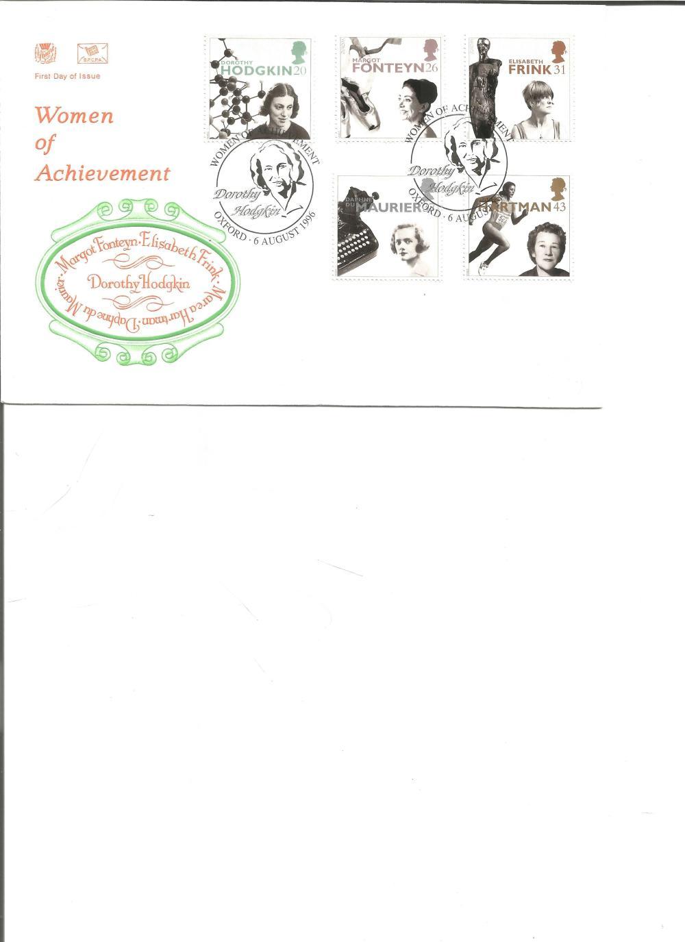 FDC Women of Achievement Margot Fonteyn, Elisabeth Frink, Dorothy Hodgkin, Marea Hartman, Daphne