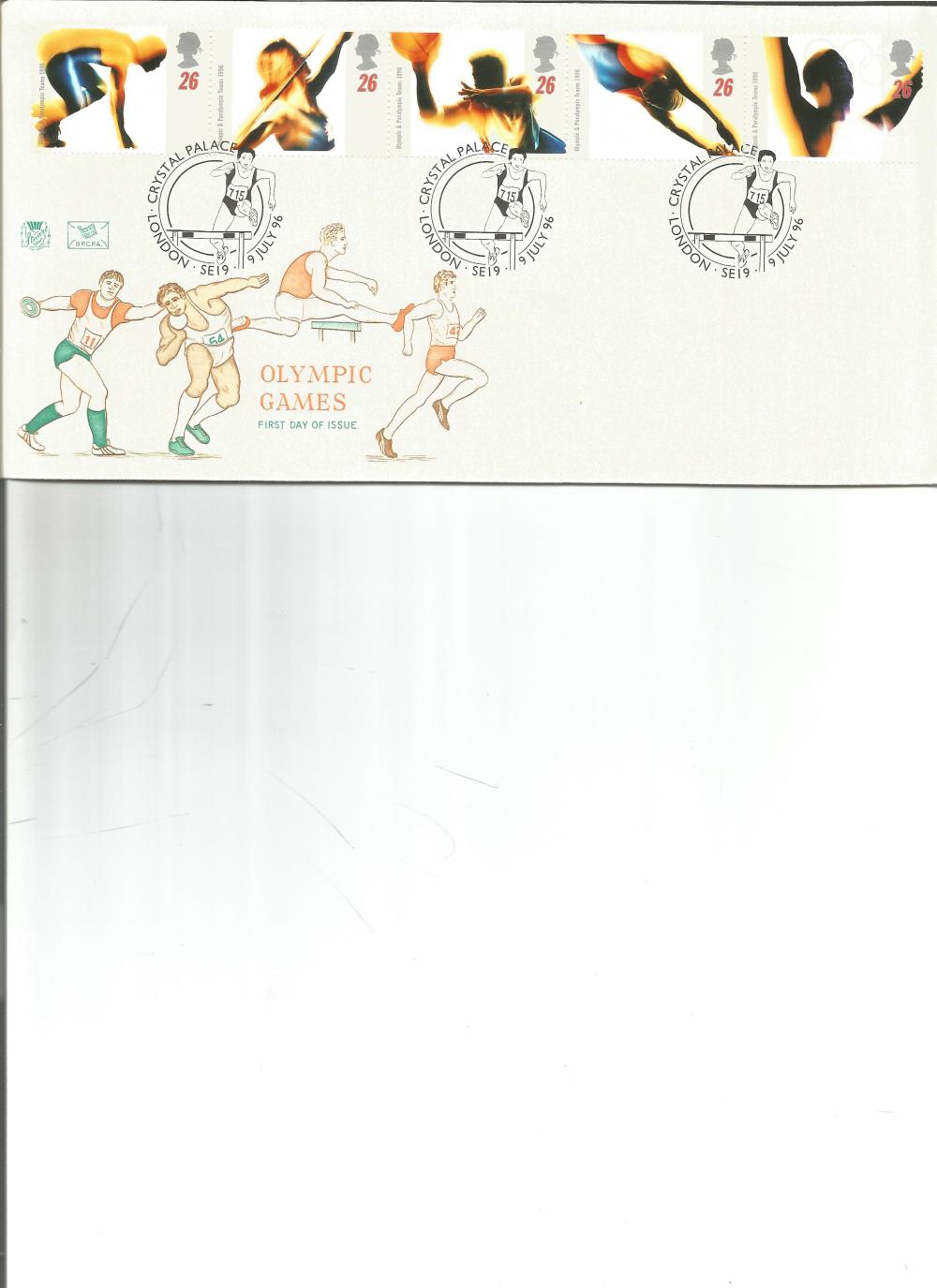 FDC Olympic Games c/w set of five commemorative stamps , triple PM Crystal Palace, London SE19 9TH