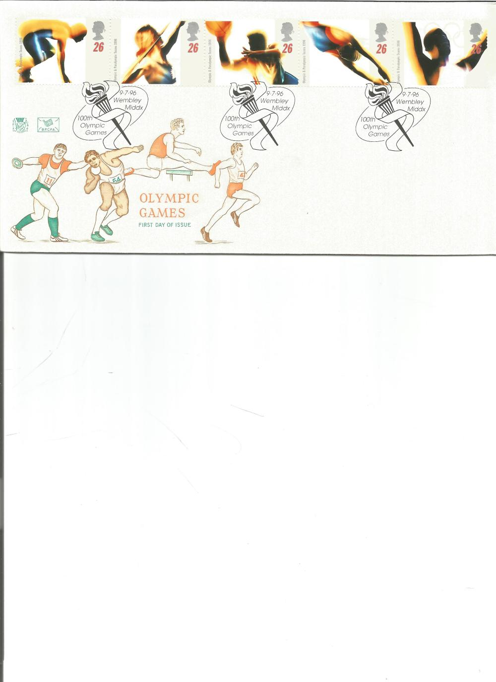 FDC Olympic Games c/w set of five commemorative stamps , triple PM9. 7. 96 Wembley Middx 100th