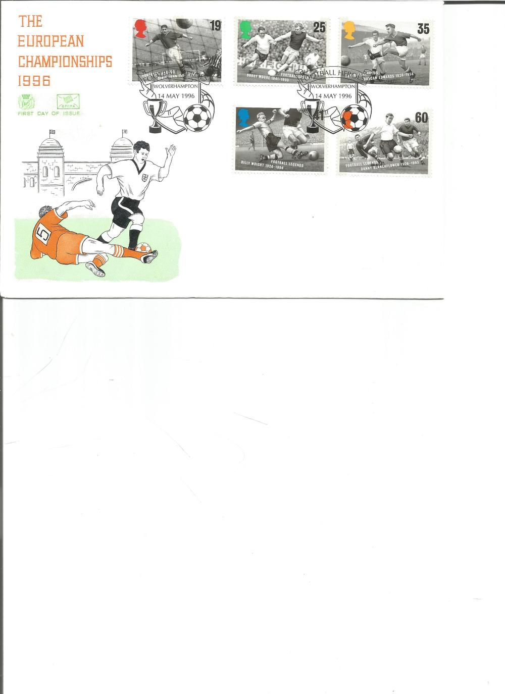 FDC The European Championship 1996 c/w set of five commemorative stamps double PM Football Heroes
