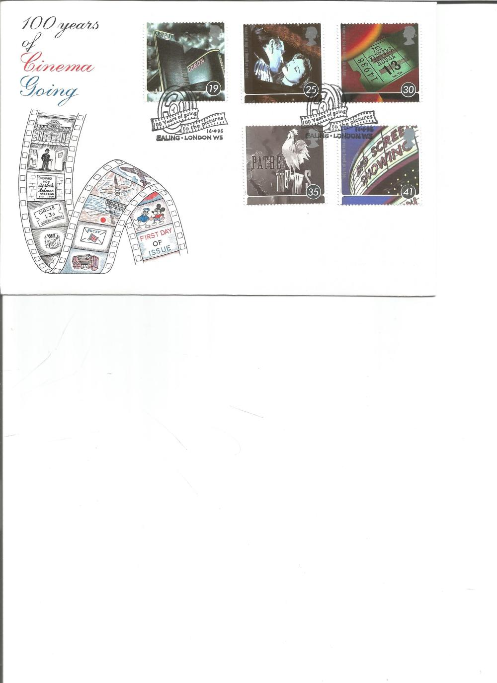 FDC 100 YEARS of Cinema Going c/w set of five commemorative stamps double PM 100 Years of going to