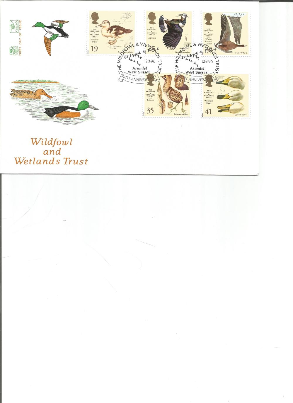 FDC Wildfowl and Wetlands Trust c/w set of five stamps double PM The Wildfowl &Wetland Trust 50th