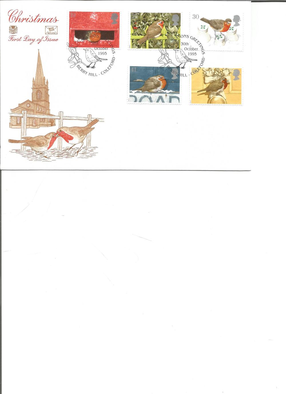 FDC Christmas c/w set of five commemorative stamps PM Seasons Greetings, Berry Hill Coleford 30th