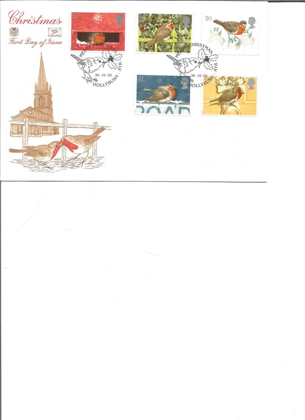 FDC Christmas c/w set of five commemorative stamps PM Merry Christmas, Hollybush, Ayr 30. 10. 95. We