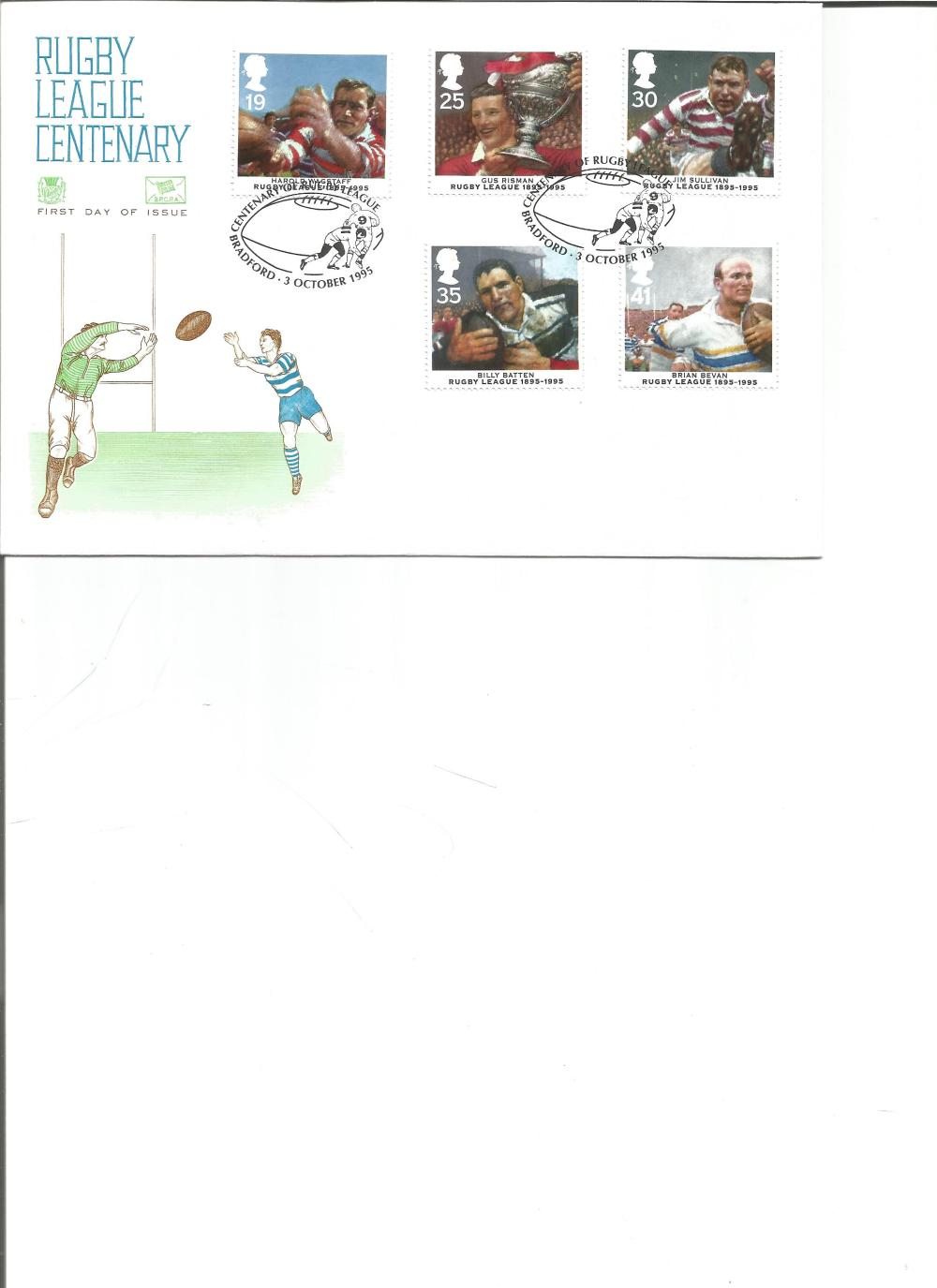 FDC Rugby League Centenary c/w set of five commemorative stamps PM Centenary Rugby League,