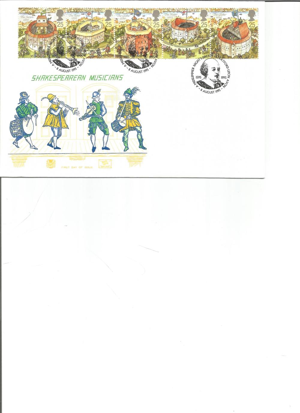 FDC Shakespearean Musicians c/w set of five stamps triple PM Midsummer Night's Dream, Stratford Upon