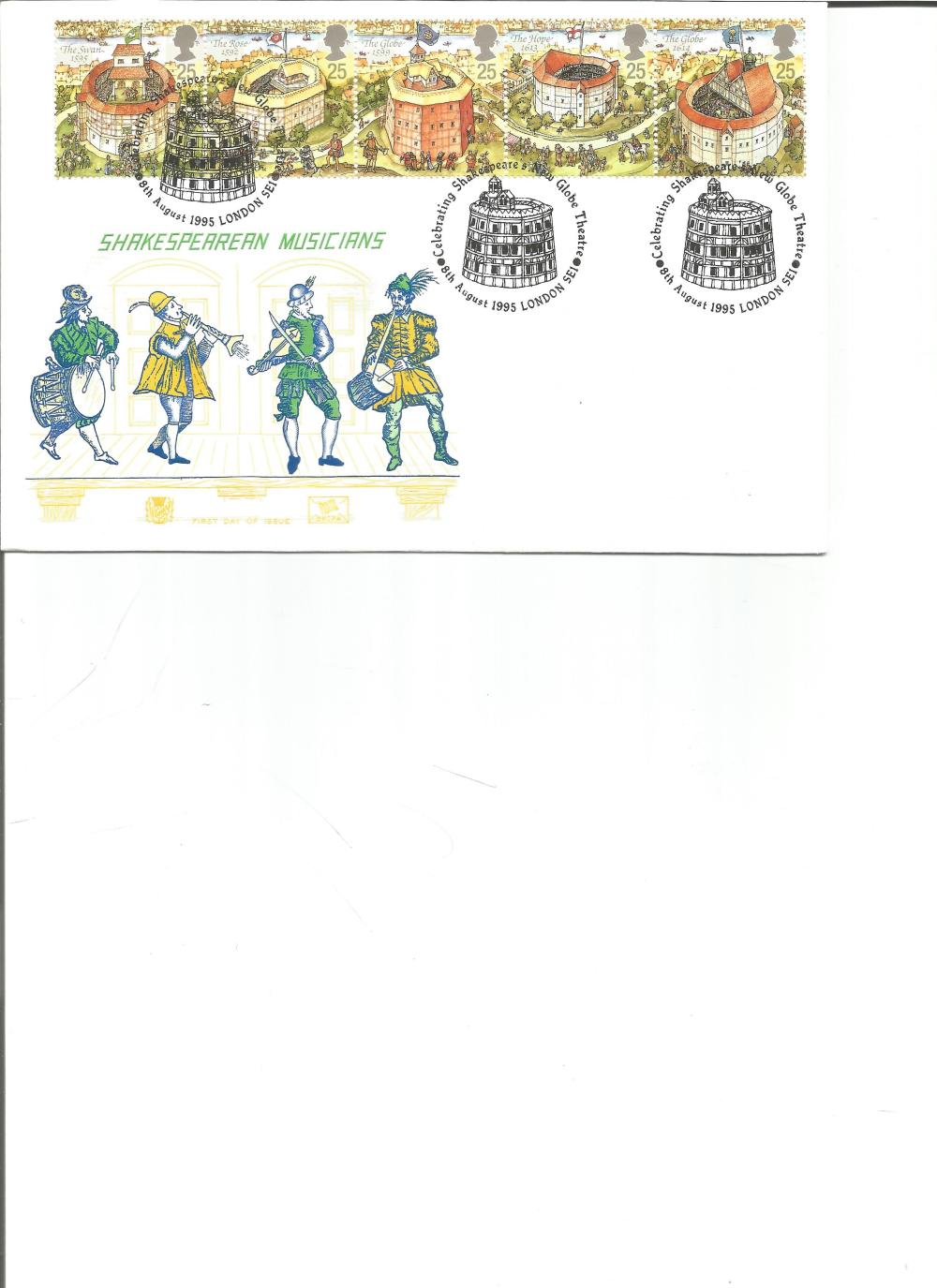 FDC Shakespearean Musicians c/w set of five stamps triple PM Celebrating Shakespeare, s New Globe