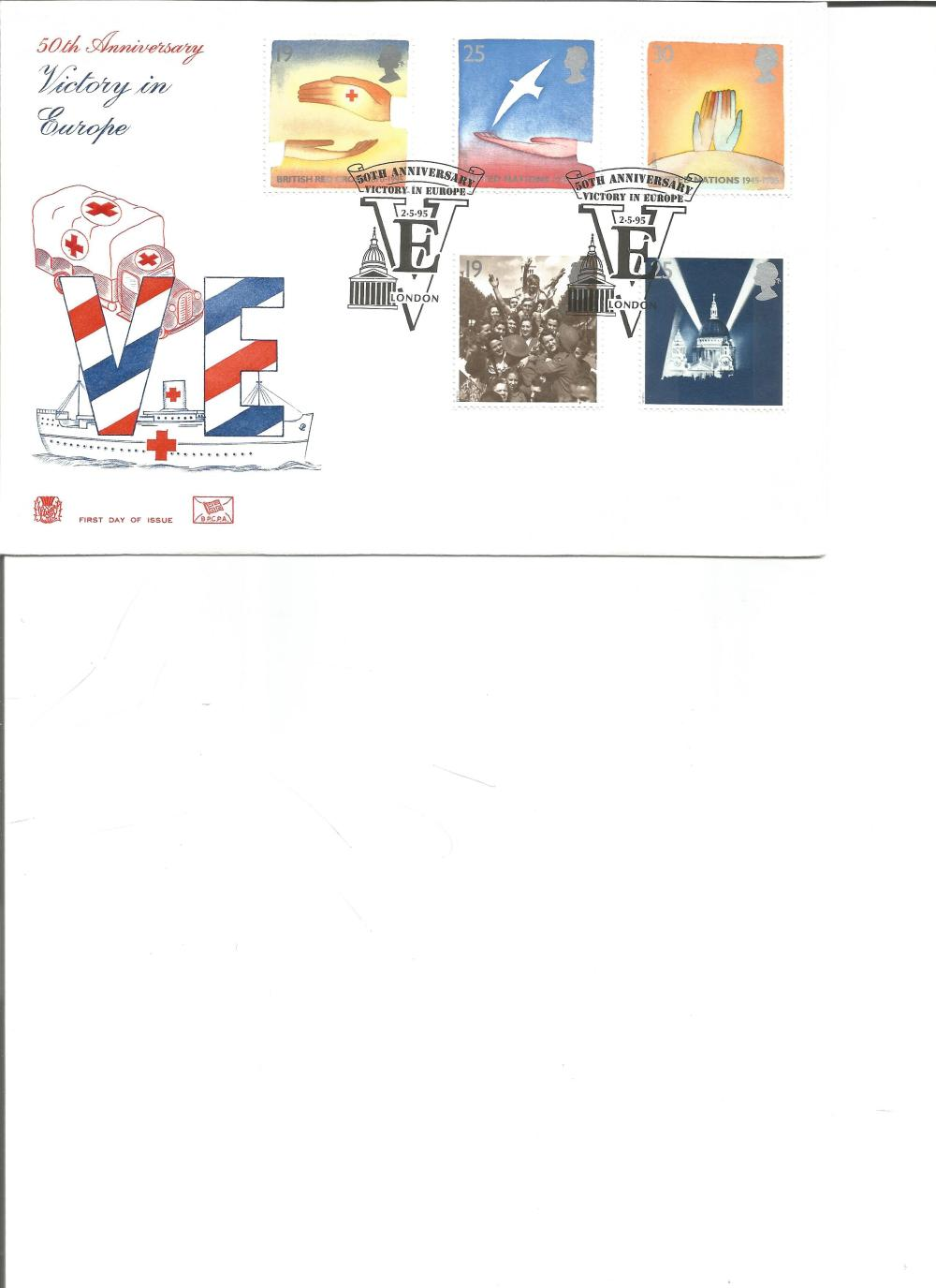 FDC 50TH Anniversary Victory in Europe c/w set of five commemorative stamps double PM 50th