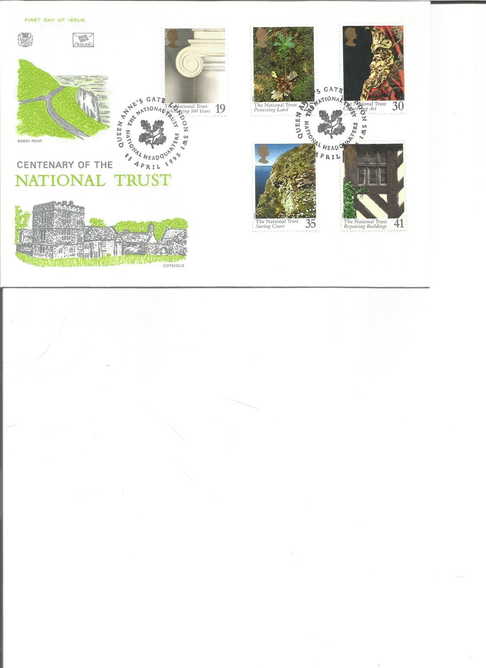 FDC Centenary of the National Trust c/w set of five commemorative stamps PM The National Trust