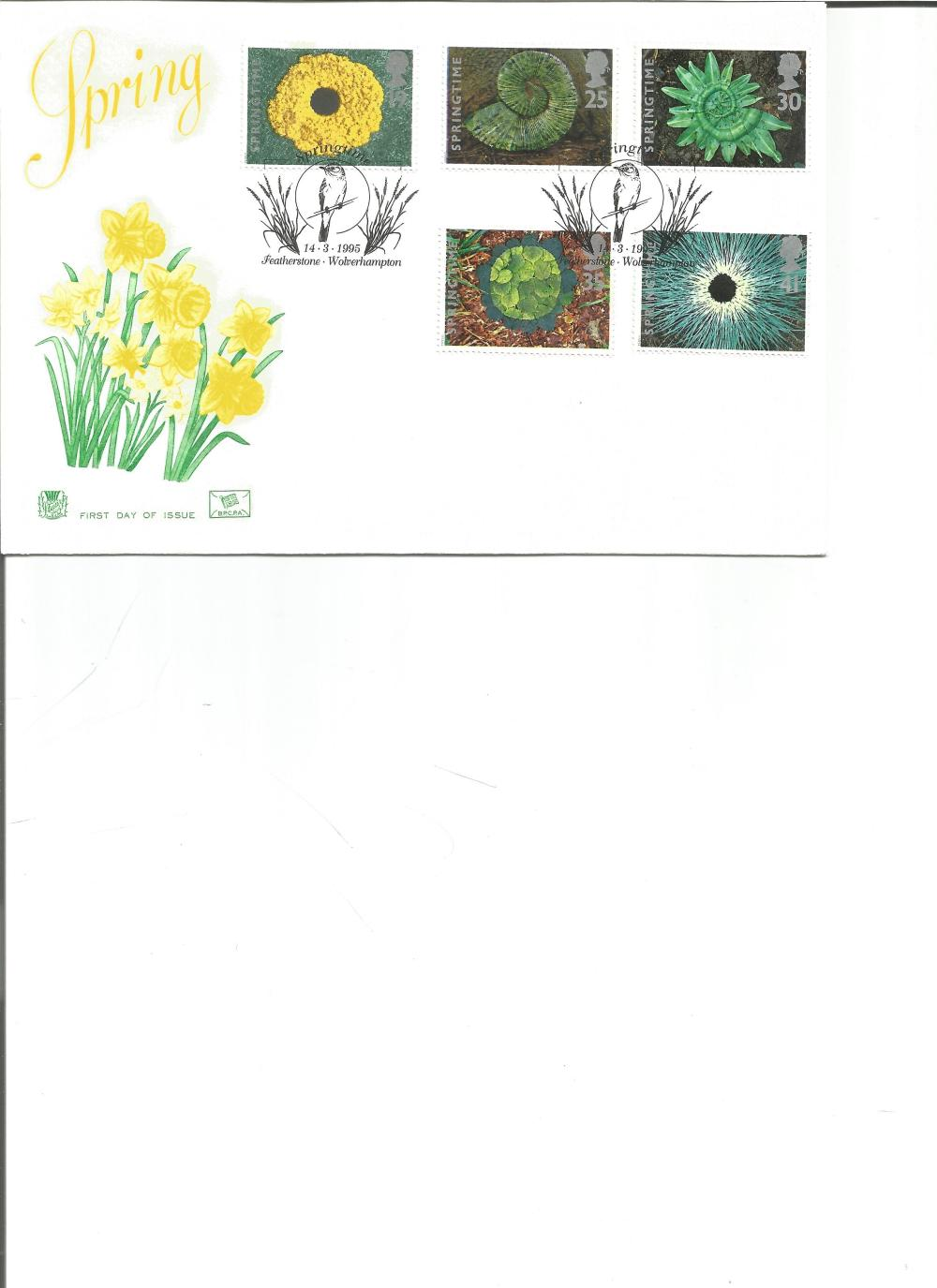 FDC Spring c/w set of five commemorative stamps double PM Springtime 14. 3. 95 Featherstone,