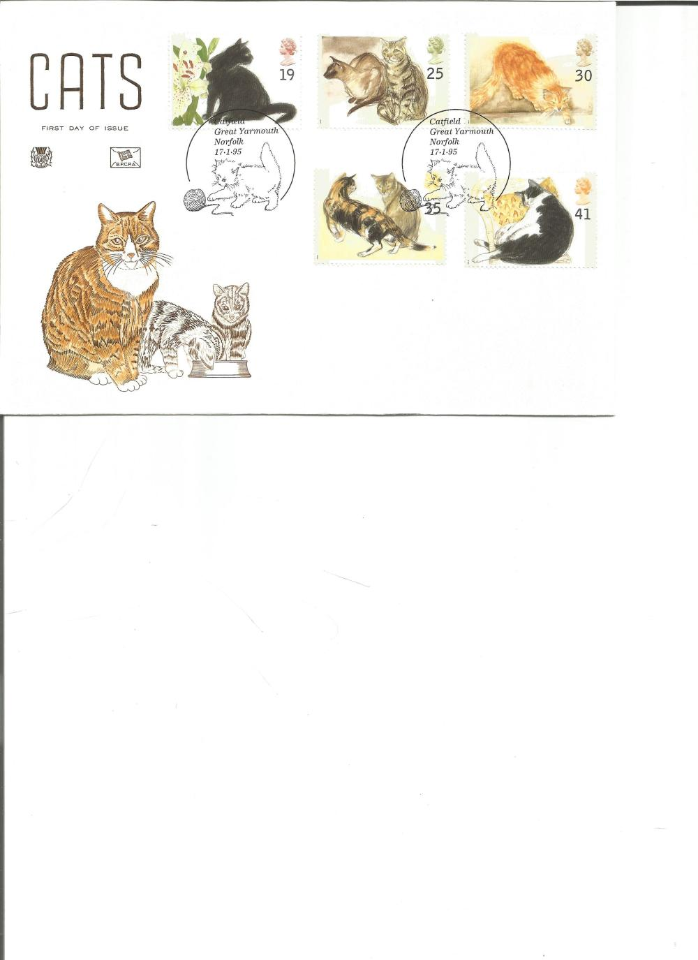 FDC Cats c/w set of five commemorative stamps double PM Catfield Great Yarmouth Norfolk 17. 1. 95.