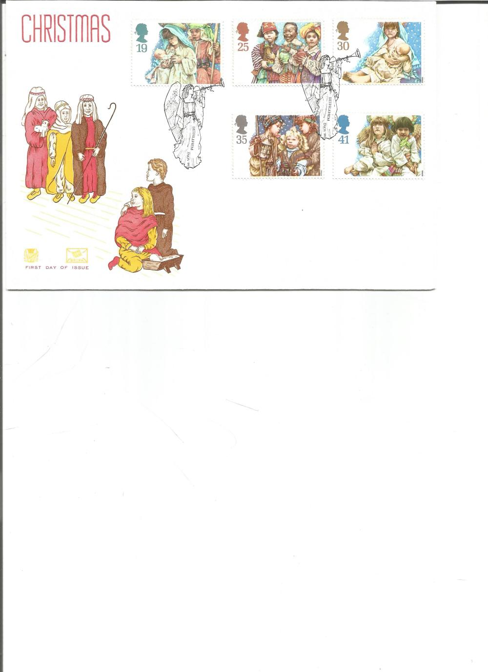 FDC Christmas c/w set of five commemorative stamps double PM Bethlehem Nov 94. We combine postage on