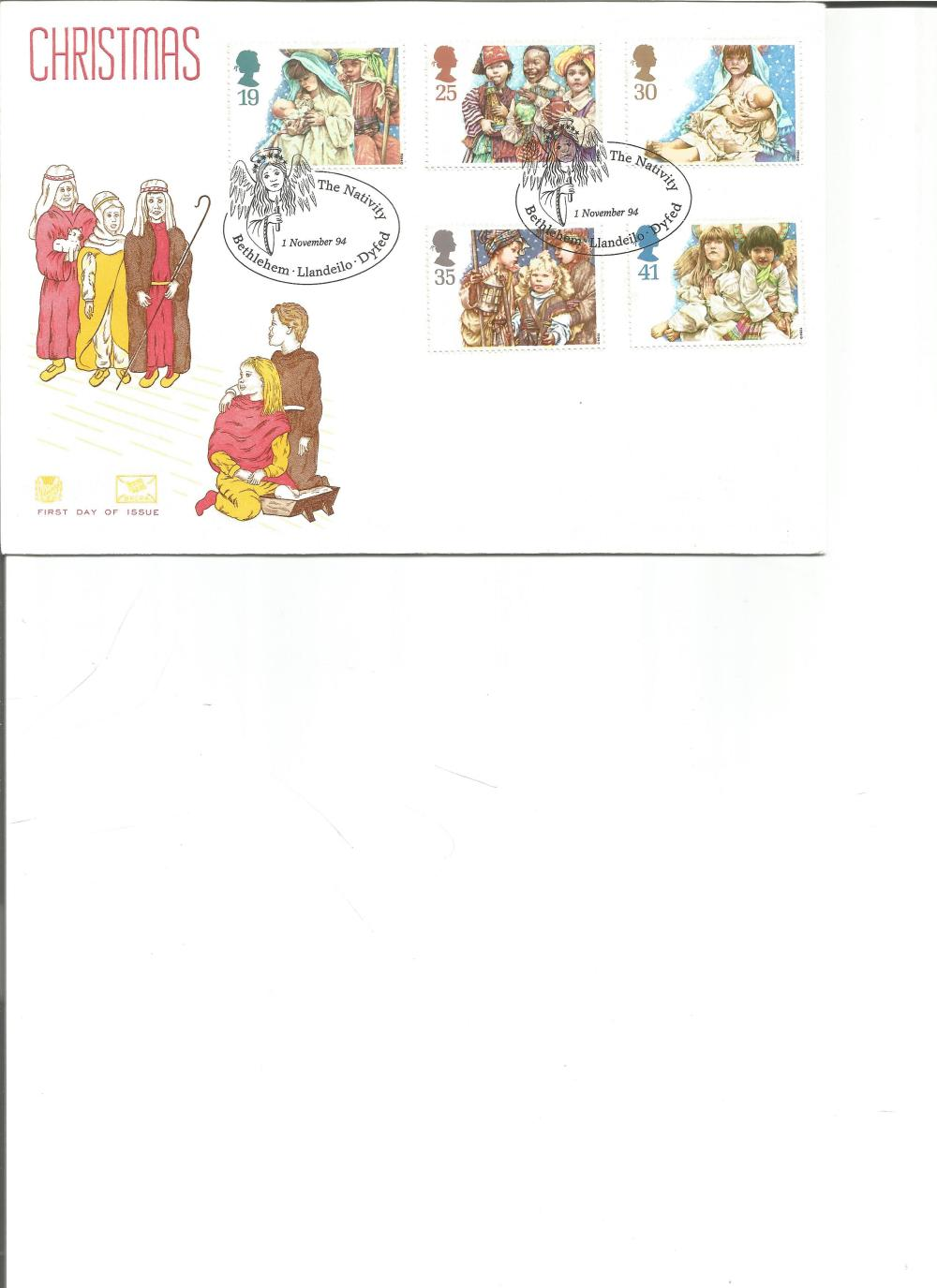 FDC Christmas c/w set of five commemorative stamps double PM The Nativity 1 November 94 Bethlehem,