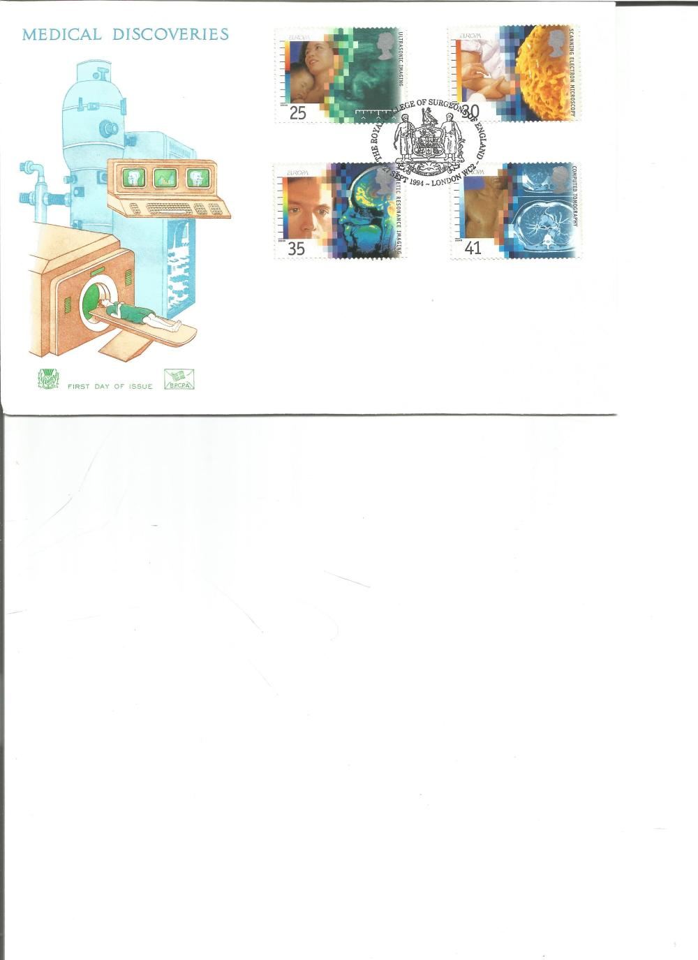 FDC Medical Discoveries c/w set of four commemorative stamps PM The Royal College of Surgeons of
