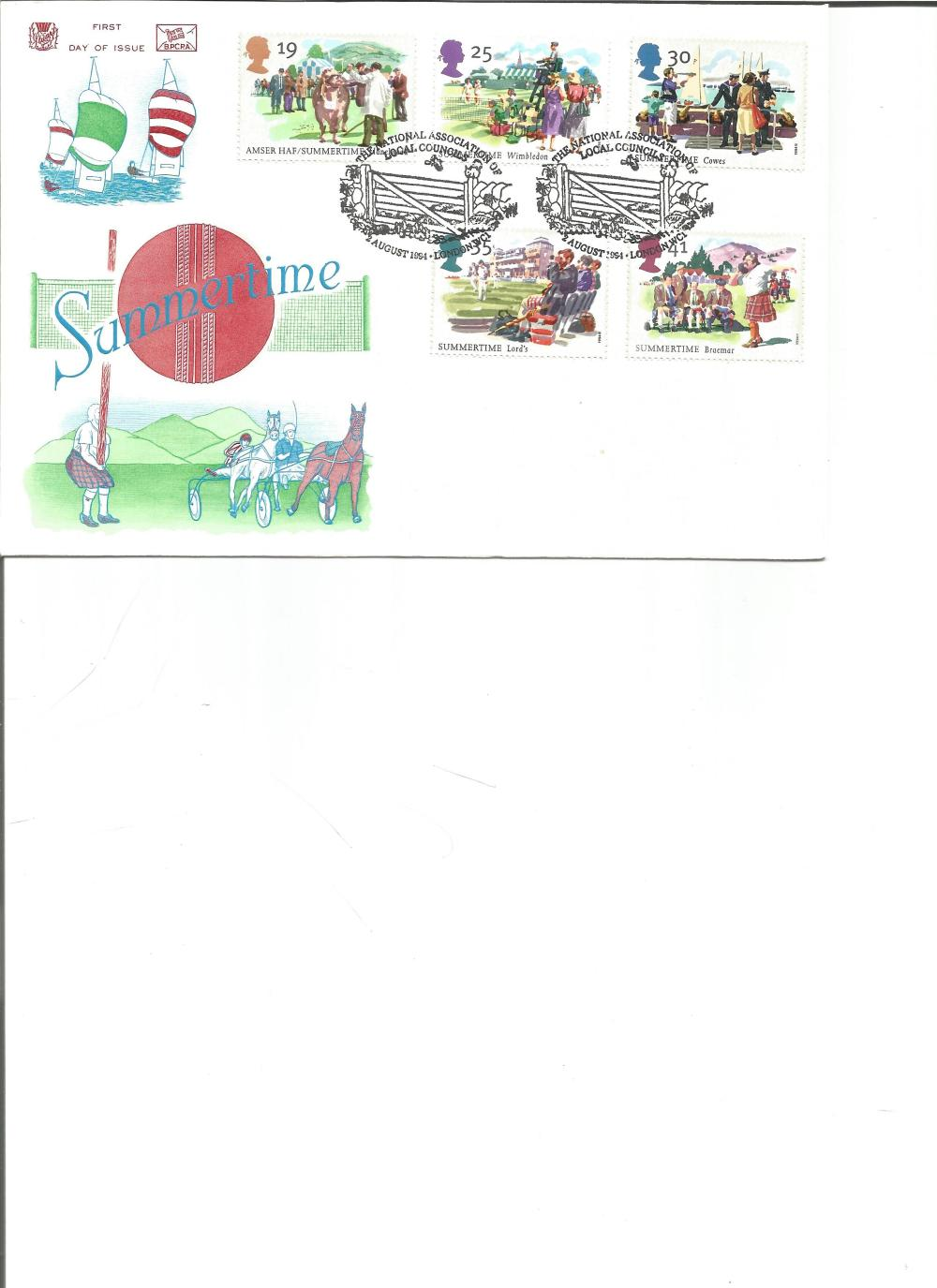 FDC Summertime c/w set of five commemorative stamps double PM The National Association of Local