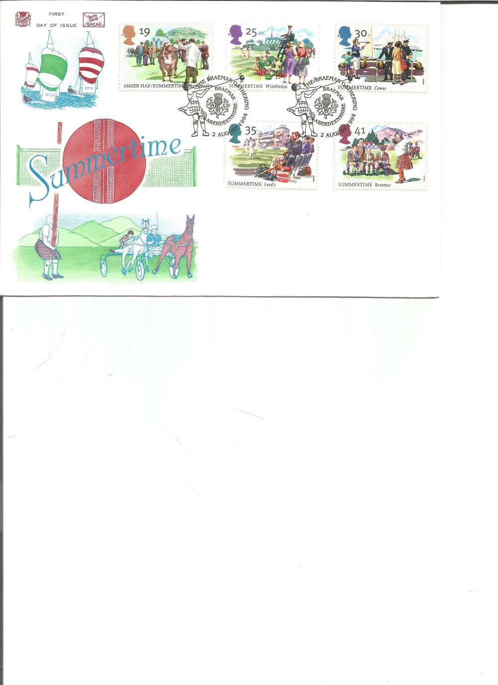 FDC Summertime c/w set of five commemorative stamps double PM The Braemar Gathering, Braemar